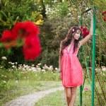 Sexy elegant woman posing outdoor — Stock Photo