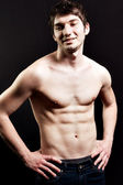 Shirtless sexy man with muscular abdomen — Stock Photo