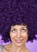 Joyful woman with funny hair coiffure — Stockfoto