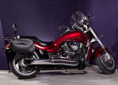 Motorcycle - red powerful chopper — Stock Photo