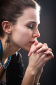Religion concept - woman and her prayer — Stock Photo