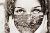 Sensual eyes of woman behind vail — Stock Photo