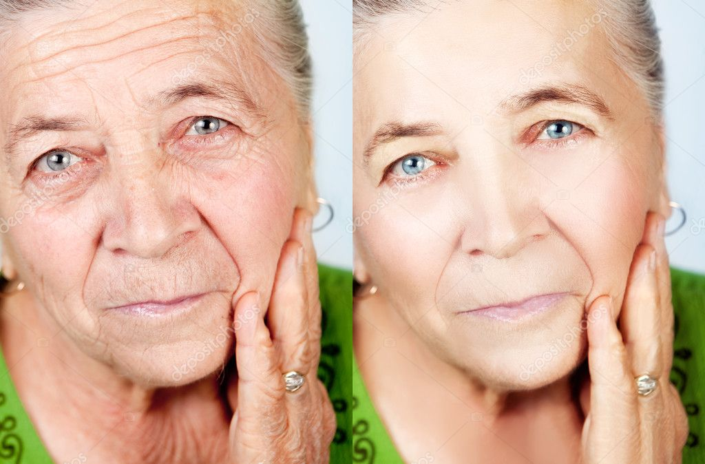Beauty and skincare concept - senior woman without aging wrinkles — Photo #9980776