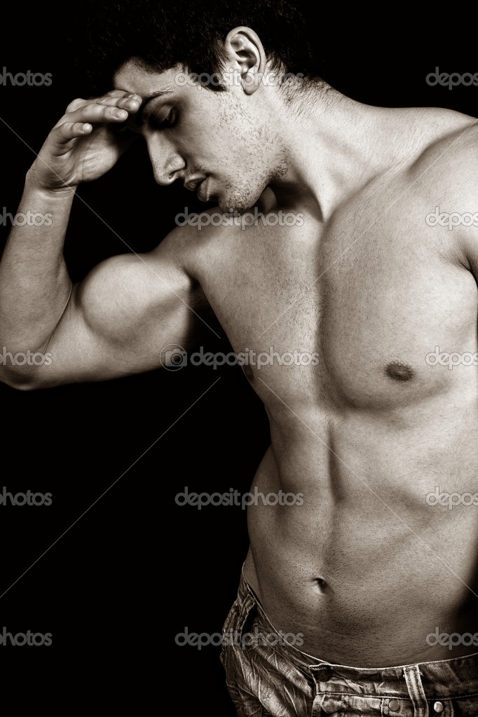 Portrait of tired sad weary male bodybuilder — Stock Photo #9980803