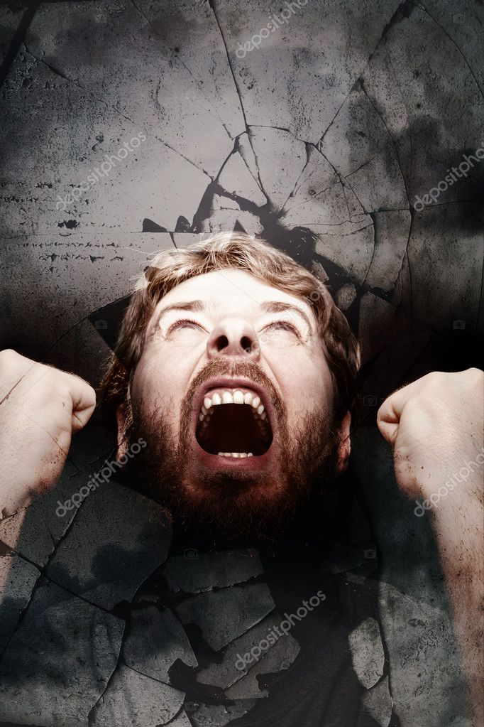 Angry scream of revolution and shattered glass — Stock Photo #9981433
