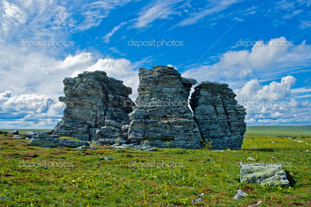 The Three Brothers rocks in the Kvarkush plateau. Perm Krai. Russia. — Stock Photo #9670532
