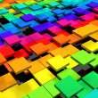 Colorful dynamic square background - Stock Photo