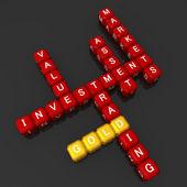 Zlatá investiční koncepci křížovky 3d ilustrace — Stock fotografie