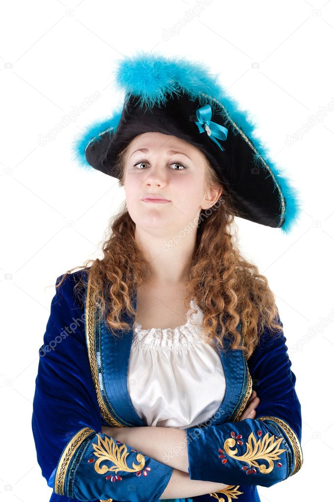 Closeup image of the young pretty woman dressed as a pirate  Stock Photo #10489852