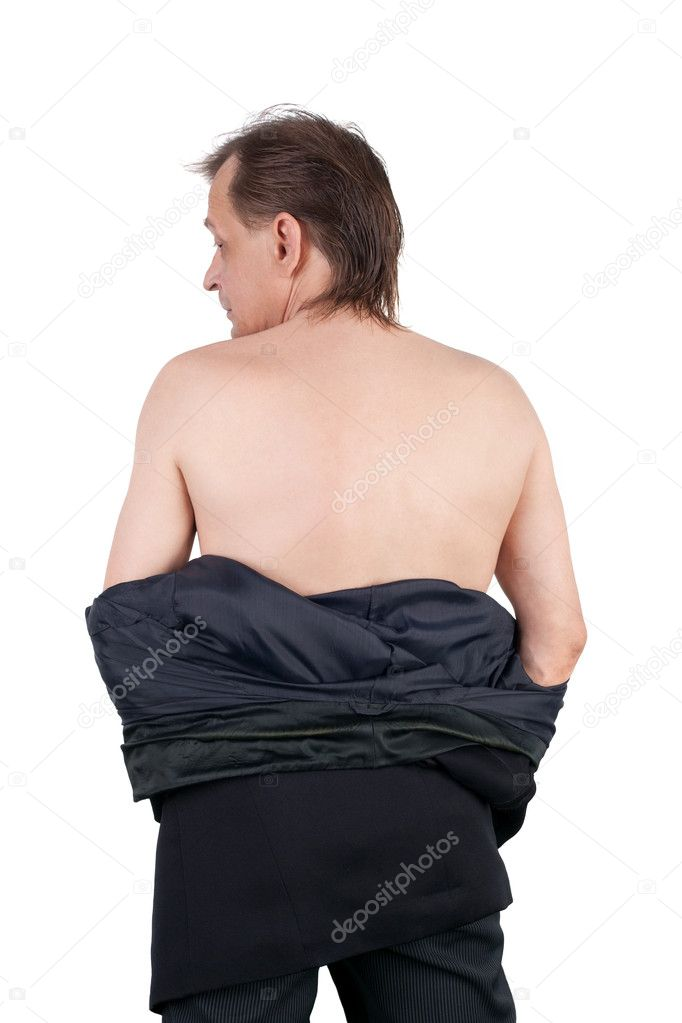 Middle aged half naked man showing his back — Stock Photo #10489871