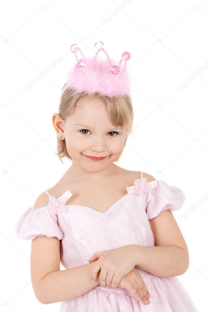 Closeup image of the cute sweet smiling little child dressed as a princess — Stock Photo #10489873