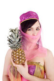 Eastern beauty with the pineapple — Stock Photo