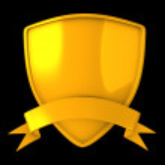 Gold shield badge — Stock Photo