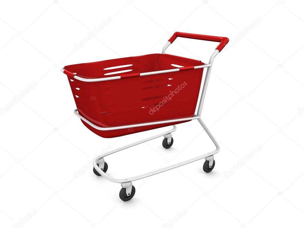 3d 渲染,红色购物车.孤立在白色背景– 图库图片