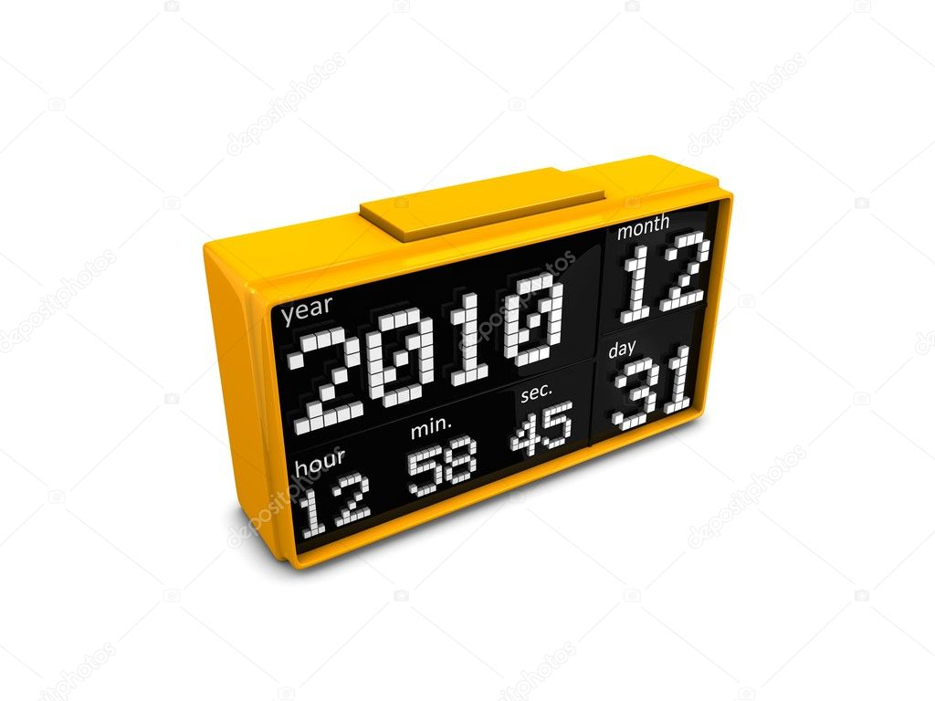 3d digital clock, last moment 2010. Isolated over white background — Stock Photo #7995089