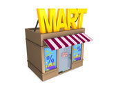 3d image, conceptual mini mart — Stock Photo