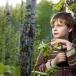 Little boy in spring birch forest with palm has covered a birch branch — Stock Photo