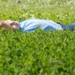 Boy have fun in green grass. — Stock Photo #8449563