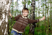 Smiling little boy in spring birch forest — Stock Photo