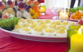 Platter with deviled eggs — Stock Photo
