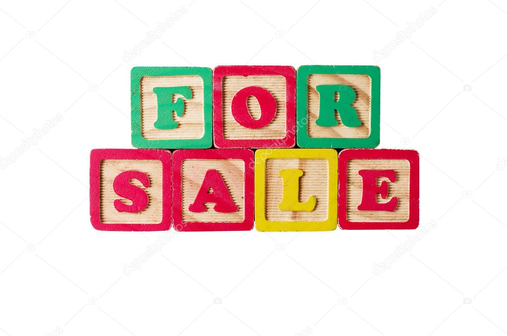 For sale written with children's blocks — Stock Photo #10508184