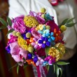 Very colorful wedding bouquet - Stock Photo