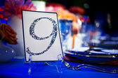Banquet Table with Number Card — Stock Photo