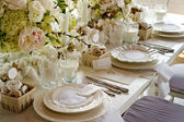 White wedding Banquet Table With Milk & Doughnuts — Stock Photo