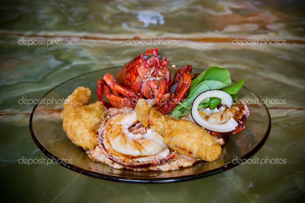 Image of a Lobster Dinner prepared 3 ways  Stock Photo #10413044