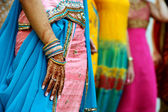 Henna Tattoos and Saris — Stock Photo