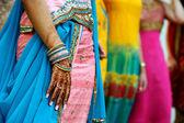 Henna Tattoos and Saris — Stock Photo