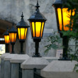 Stock Photo: Glowing lanterns on romantic terrace