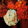 A close up image of a bride and her bridesmaid holding bridal bouquets - Stock Photo