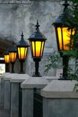 Glowing lanterns on a romantic terrace — Stock Photo
