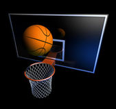 Basketball hoop and basketball ball — Stock Photo