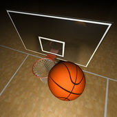 Basketball ball and court — Stock Photo
