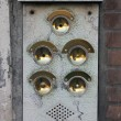 Five Brass Doorbells — Stock Photo