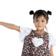 Girl pointing to the side — Stock Photo