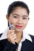 Business woman with usb stick — Stock Photo