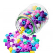 Bottle with Plastic Beads — Stock Photo