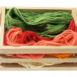 Yarn in Wooden Box — Foto Stock