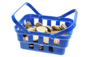 Basket of Coins — Stock Photo