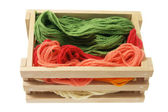 Yarn in Wooden Box — Stock Photo