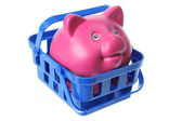Piggy Bank in Basket — Stock Photo