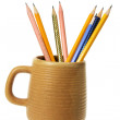 Coffee Mug with Pencils — Stock Photo