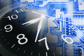 Clock and Circuit Board — Stock Photo