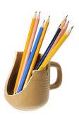 Pencils in Broken Mug — Stock Photo