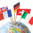European Flags on Globe — Stock Photo