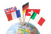 European Flags on Globe — Stock Photo