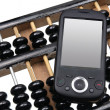 Smart Phone on Abacus — Stock Photo